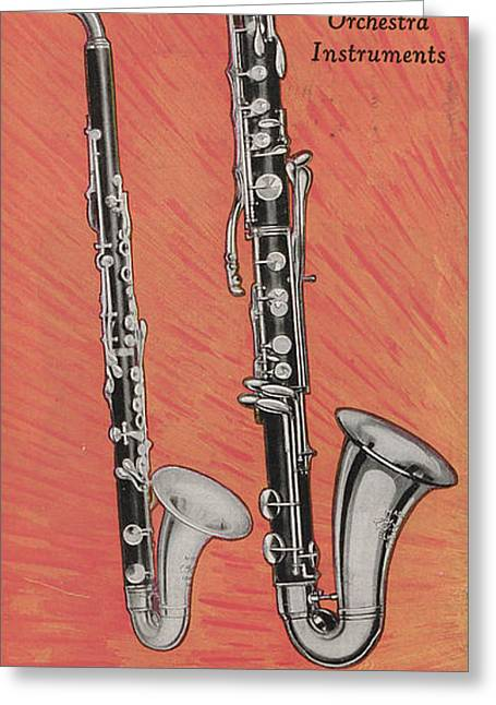 Clarinet And Giant Boehm Bass Greeting Card by American School