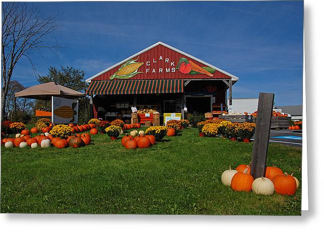 Maine Farms Greeting Cards - Clark Farms Roadside Market Greeting Card by Ben Prepelka