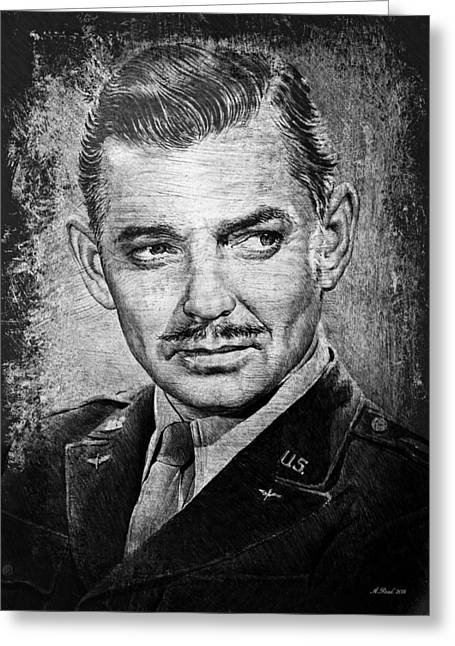 All American Drawings Greeting Cards - Clark Gable Greeting Card by Andrew Read