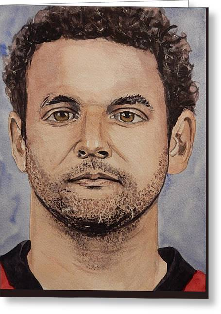 Hockey Paintings Greeting Cards - Clarke MacArthur Greeting Card by Betty-Anne McDonald