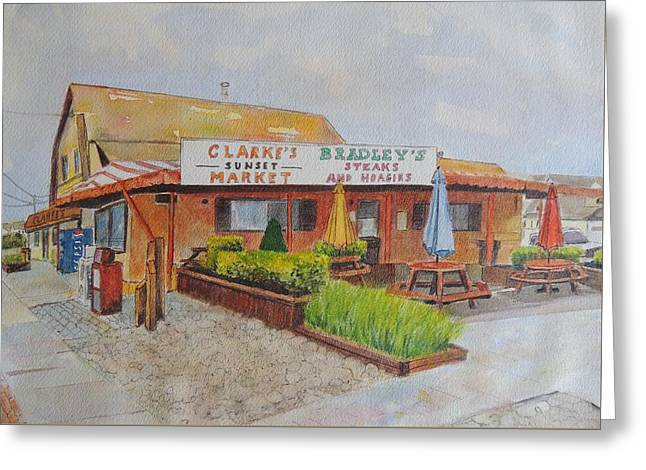 Table Greeting Cards - Stone Harbor New Jersey Clarkes Sunset Market and the Old Bradleys Greeting Card by Patty Kay Hall