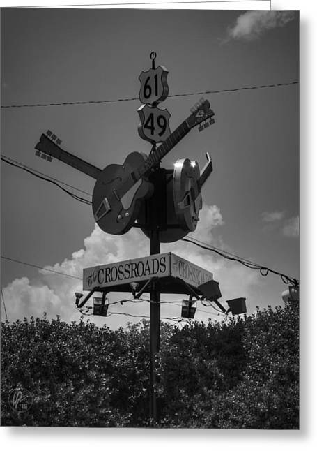 Music History Greeting Cards - Clarksdale - The Crossroads 003 BW Greeting Card by Lance Vaughn