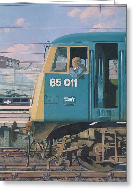 Railway Locomotive Greeting Cards - Class 85 Electric Locomotive At Euston Station Greeting Card by Martin Davey