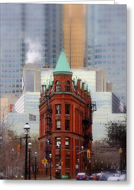 Flat Iron Building Greeting Cards - Class amongst the glass Greeting Card by Russell Styles