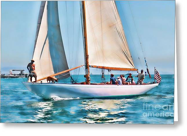 Tall Ships Greeting Cards - Classic 10 Meter Sally Greeting Card by Philippe Gadeyne