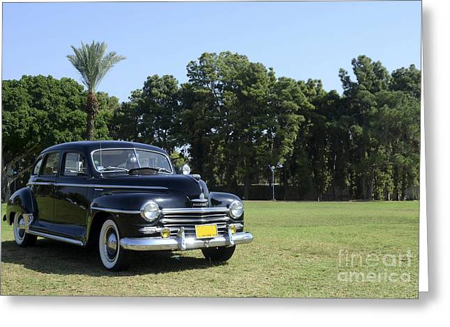 1949 Plymouth Greeting Cards - classic 40s black Plymouth  Greeting Card by Amir Paz