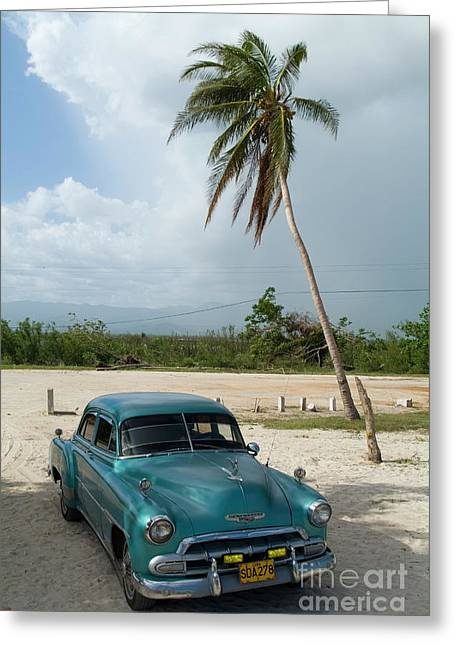 Indy Car Greeting Cards - Classic American car parked at Ancon Beach Greeting Card by Sami Sarkis