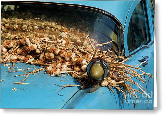 Classic American Car With Trailer Full Of Garlic Greeting Card by Sami Sarkis