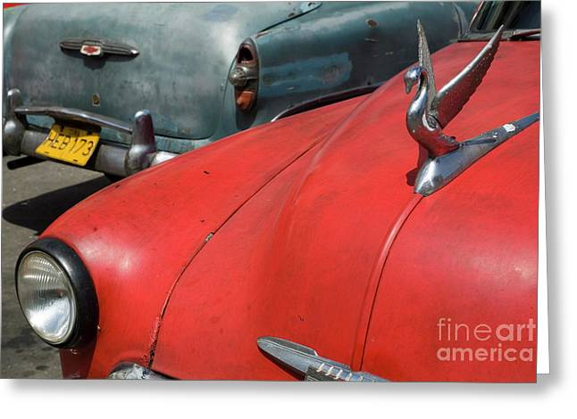 Indy Car Greeting Cards - Classic American cars parked in the streets of Havana Greeting Card by Sami Sarkis