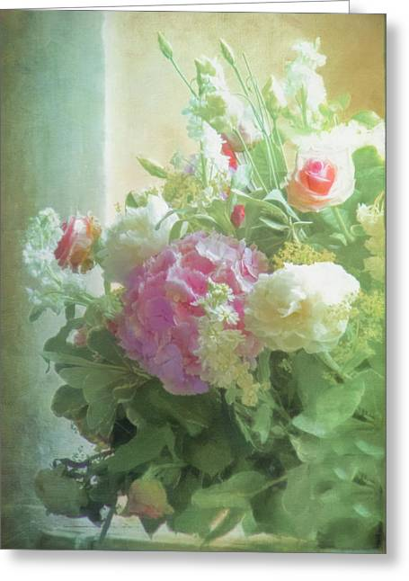 Many Greeting Cards - Classic Bouquet in a Window Greeting Card by Hal Halli