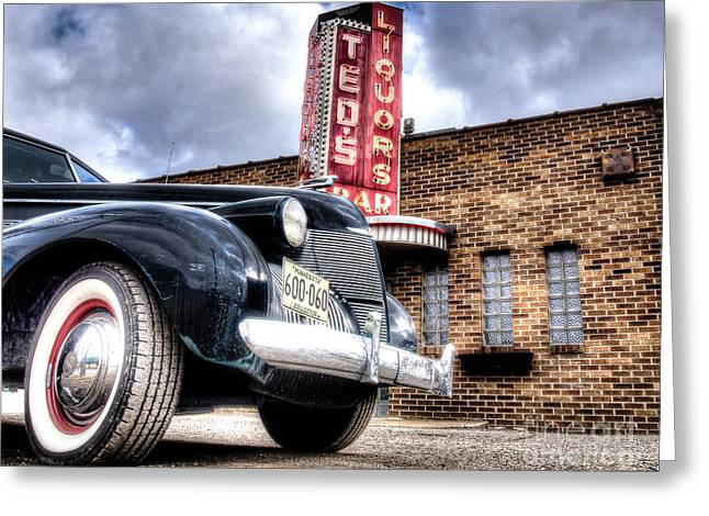Saloons Greeting Cards - Classic Car, Classic Bar Greeting Card by Ben Cooper