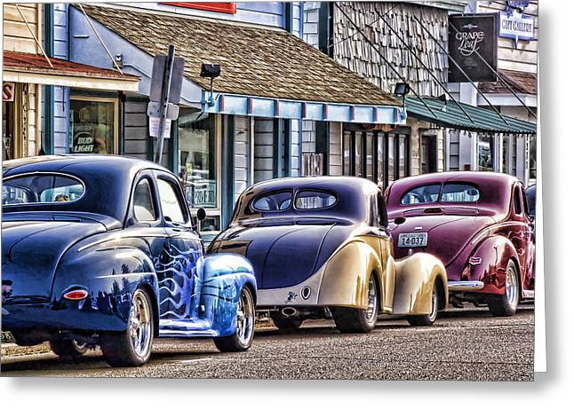 Classic Car Show Greeting Card by Carol Leigh