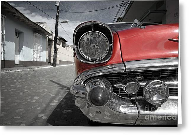 Headlight Greeting Cards - Classic Car - Trinidad - Cuba Greeting Card by Rod McLean