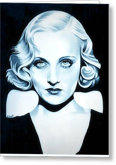 High Voltage Greeting Cards - Classic Carole Lombard Greeting Card by Fred Larucci