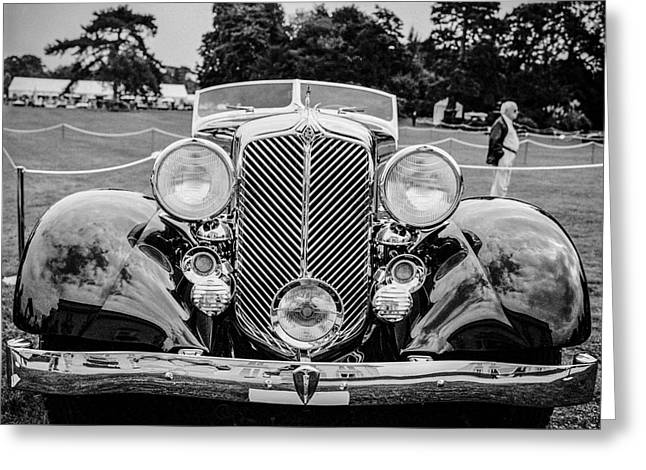 Black And White Photos Pyrography Greeting Cards - Classic cars and the automobiles. Greeting Card by Cyril Jayant