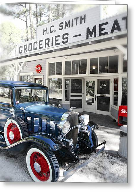 Grocery Store Greeting Cards - Classic chevrolet automobile parked outside the store Greeting Card by Mal Bray