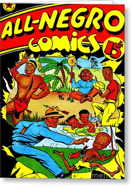 Slavery Greeting Cards - Classic Comic Book Cover All Negro Comics Greeting Card by Wingsdomain Art and Photography