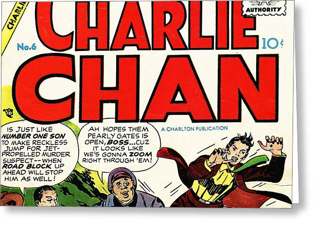 Comic Book Covers Greeting Cards - Classic Comic Book Cover Charlie Chan 6 square Greeting Card by Wingsdomain Art and Photography