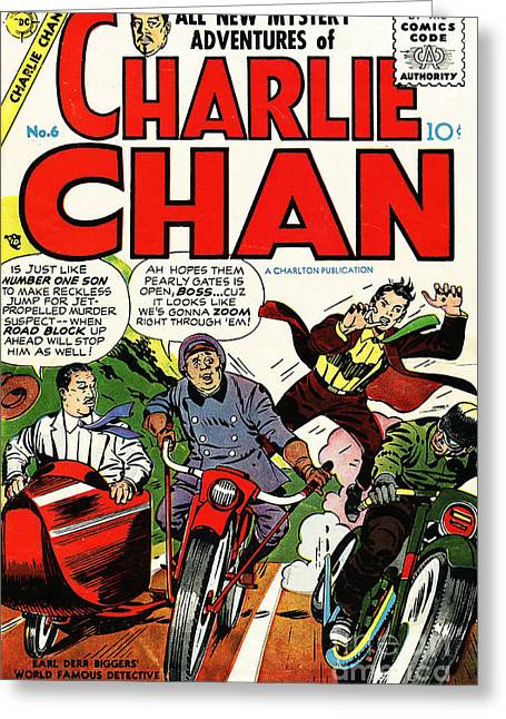 Book Cover Art Greeting Cards - Classic Comic Book Cover Charlie Chan 6 Greeting Card by Wingsdomain Art and Photography