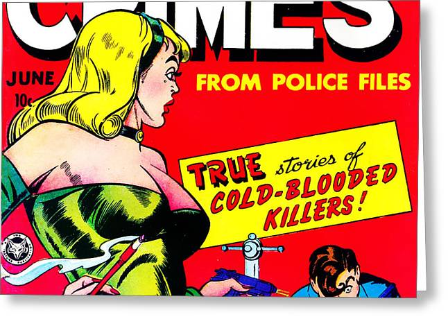 Comic Book Covers Greeting Cards - Classic Comic Book Cover Famous Crimes From Police Files 0112 sq Greeting Card by Wingsdomain Art and Photography