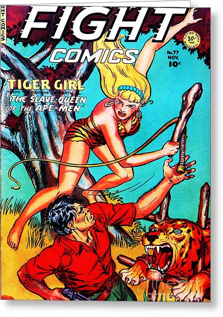 Book Cover Art Greeting Cards - Classic Comic Book Cover Fight Comics Tiger Girl 77 Greeting Card by Wingsdomain Art and Photography
