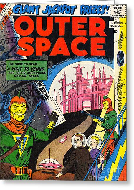 Book Cover Art Greeting Cards - Classic Comic Book Cover Outer Space Greeting Card by Wingsdomain Art and Photography