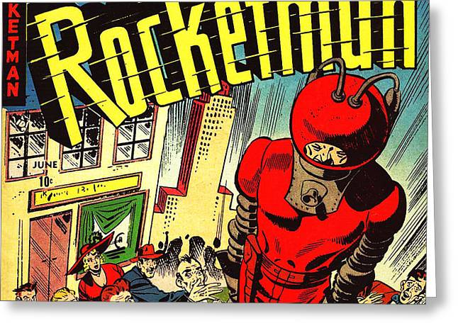 Book Cover Art Greeting Cards - Classic Comic Book Cover Rocketman June square Greeting Card by Wingsdomain Art and Photography