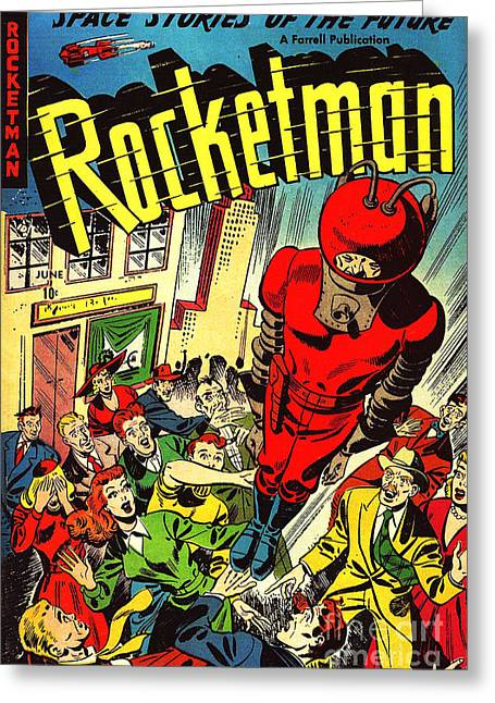 Book Cover Art Greeting Cards - Classic Comic Book Cover Rocketman June Greeting Card by Wingsdomain Art and Photography