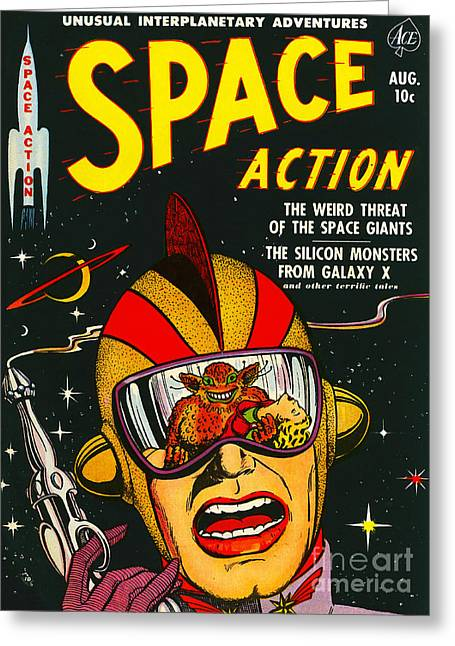 Comic Alien Greeting Cards - Classic Comic Book Cover Space Action August Greeting Card by Wingsdomain Art and Photography
