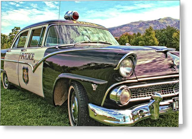 Police Cruiser Greeting Cards - Classic Cop Car Greeting Card by David King