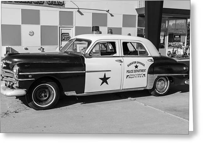 Classic Cop Car Route 66 Greeting Card by John McGraw