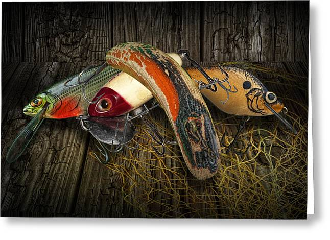 Flatfish Greeting Cards - Classic Crankbaits Greeting Card by Randall Nyhof