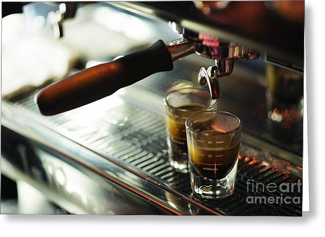 Italian Med Greeting Cards - Classic Espresso Machine Detail With Coffee Cups Greeting Card by Jacek Malipan