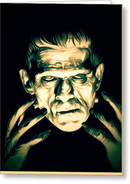 Movie Monsters Greeting Cards - Classic Frankenstein Greeting Card by Fred Larucci