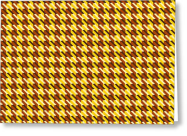 Hounds Tooth Greeting Cards - Classic Gold Houndstooth Check Greeting Card by Jane McIlroy