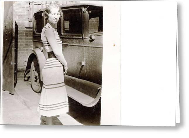 Knitted Dress Greeting Cards - Classic Home knit dress 1925  Greeting Card by Marlene Kaiser