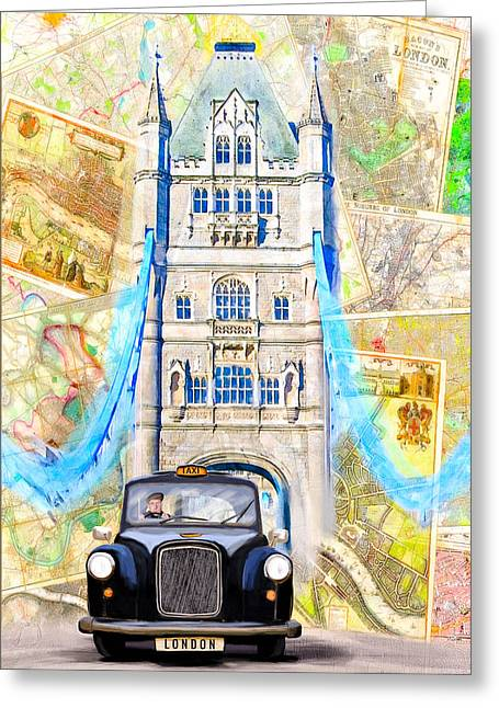 Hackney Greeting Cards - Classic London Black Cab Greeting Card by Mark E Tisdale