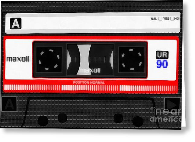 Classic Music Cassette Tape Painting Greeting Card by Edward Fielding