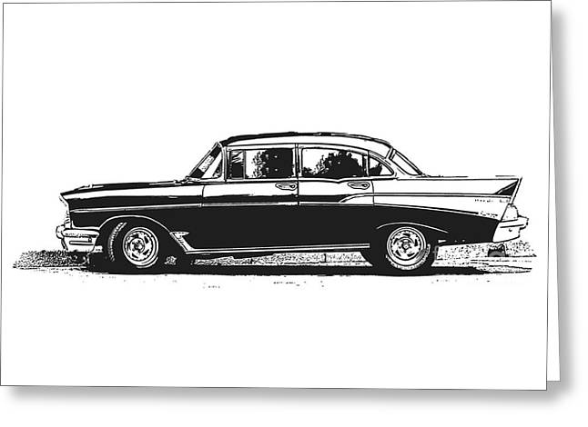 Photocopy Greeting Cards - Classic Old Car Greeting Card by Edward Fielding