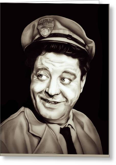 Collar Drawings Greeting Cards - Classic Ralph Kramden Greeting Card by Fred Larucci