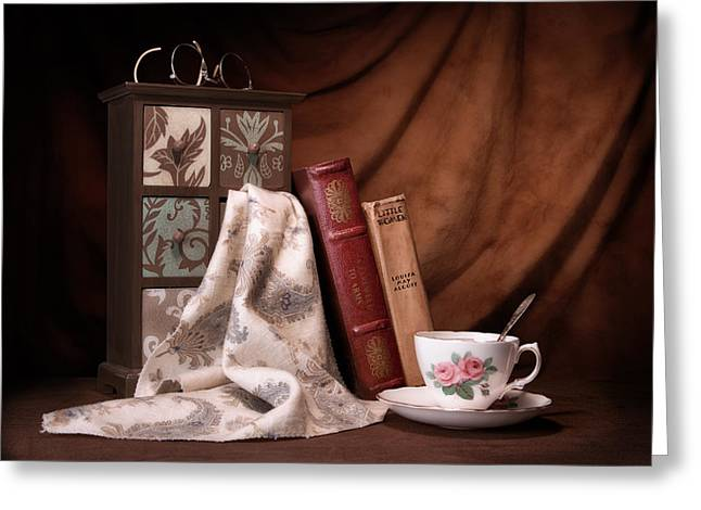 Cloth Greeting Cards - Classic Reads Still Life Greeting Card by Tom Mc Nemar