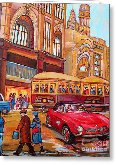 Classic Red Convertible Downtown Montreal Vintage 1946 Scene Canadian Painting Carole Spandau        Greeting Card by Carole Spandau