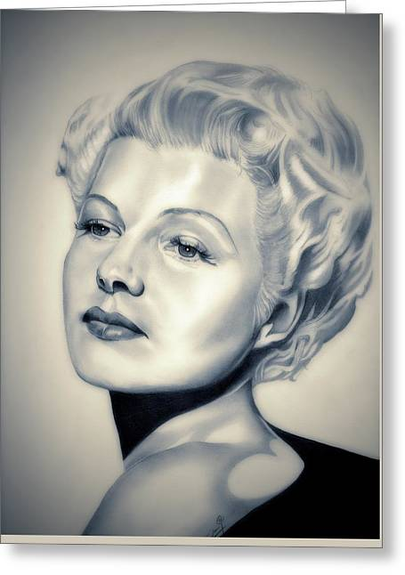 Rita Hayworth Greeting Cards - Classic Rita Hayworth Greeting Card by Fred Larucci
