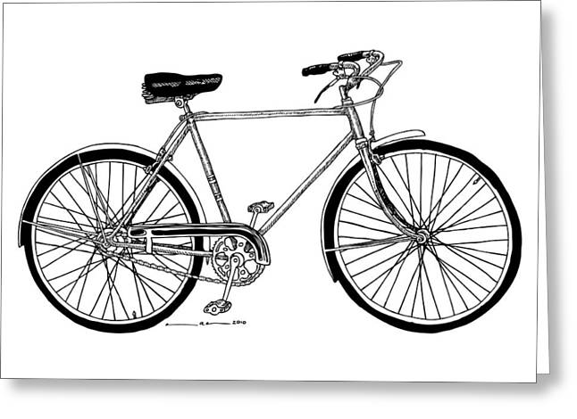 Bike Drawings Greeting Cards - Classic Road Bicycle  Greeting Card by Karl Addison