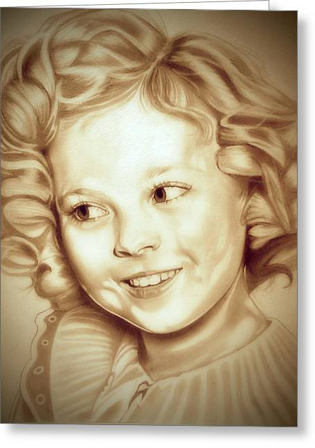 Black Top Drawings Greeting Cards - Classic Shirley Temple Greeting Card by Fred Larucci