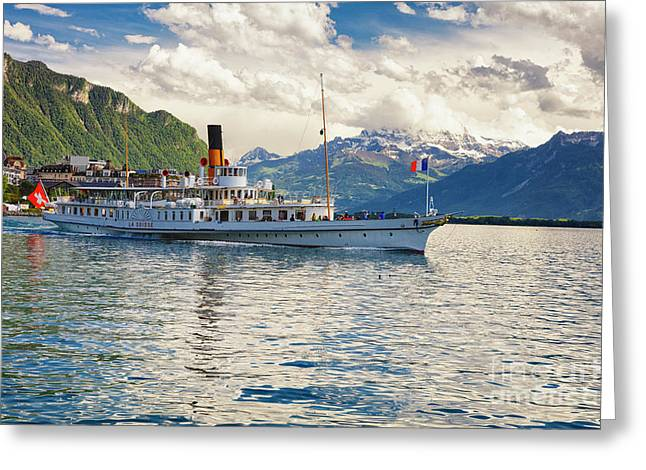 Classic Steamboat On Lake Geneva, Greeting Card by George Oze