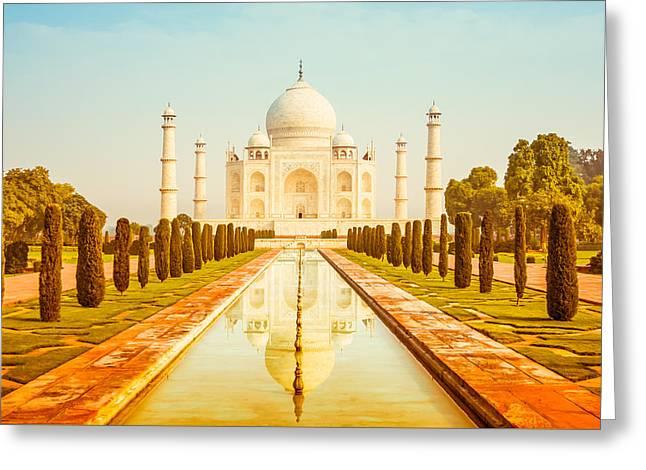 Warm Tones Greeting Cards - Classic Taj Mahal Greeting Card by Nila Newsom