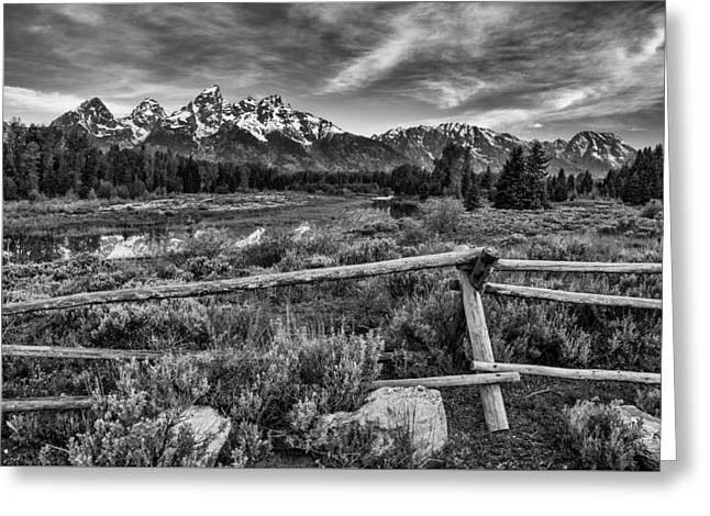 Black And White Mountain Prints Greeting Cards - Classic Tetons Greeting Card by Darren  White