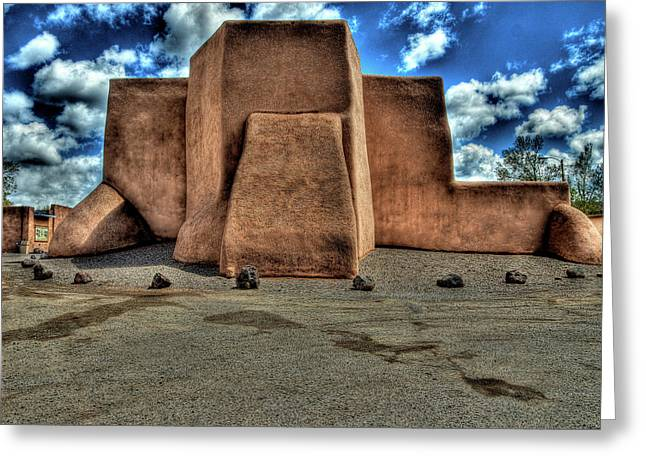 Taos Greeting Cards - Classic view of church in Ranchos PMP Greeting Card by Charles Muhle