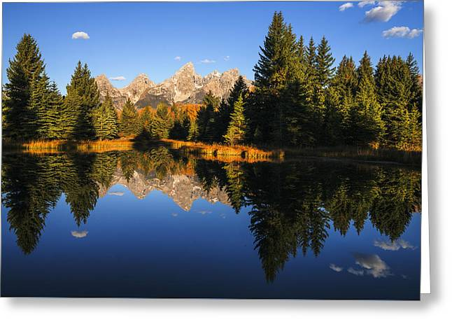 Park Scene Greeting Cards - Classic view of Grand Tetons Mountain Range Greeting Card by Vishwanath Bhat